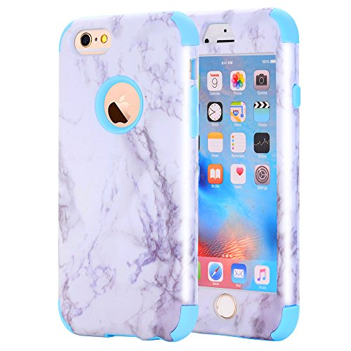 iPhone 6/6S Case, Asstar 3 In 1 Marble Creative Design Slim Flexible Soft Silicone Hard PC Shockproof Anti-Scratch Glossy Protective Cover Case for Apple iPhone 6/6s 4.7 inch (Blue)