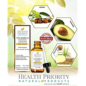 Health Priority Natural Products Organic Vitamin E Oil for Your Face and Skin, Unscented 15000 IU Heals Stretch Marks & Surgical Scars