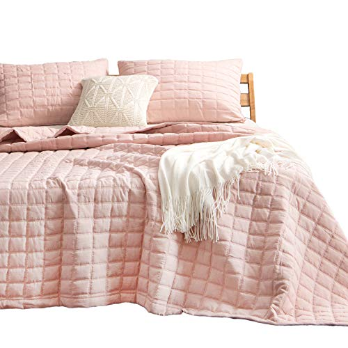 KASENTEX Quilt-Bedding-Coverlet-Blanket-Set, Ultra Soft Cozy 100% Microfiber - Machine Washable, Stone-Washed, Detailed Stitching - Hypoallergenic - Solid Color. (Blush Pink, Twin + 2 Shams) (Quilt Blush Pink)