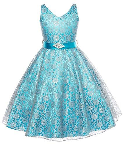 DressForLess Lovely Lace V-Neck Flower Girl Dress, Turquoise, 4 -
