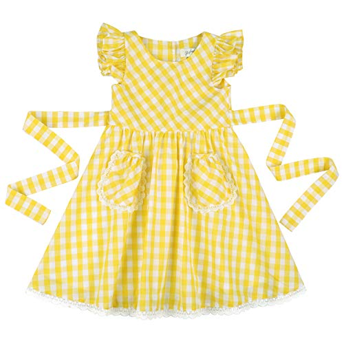 Flofallzique Yellow Gingham Summer Girls Cotton Dress for 1-8 Y Toddler Girls (6, Yellow)]()