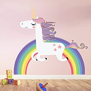 azutura Unicorn Wall Sticker Rainbow Wall Decal Art Girls Bedroom Nursery Home Decor available in 8 Sizes