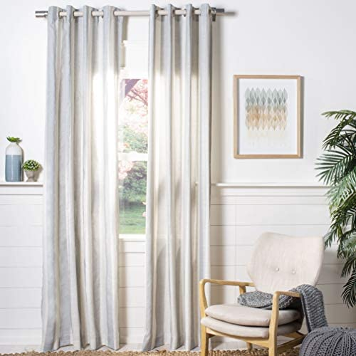 Safavieh Home Curtain Rela Taupe and Beige Semi-Sheer 52 x 96 Grommet Drape Panel Window Treatment, 96 x 52