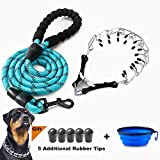 VCZONE Dog Prong Collar, Adjustable Stainless Steel Pinch Collar with Rubber Caps and Dog Leashes for Medium and Large Dogs Training (23.6 inch)