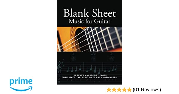 Amazon Blank Sheet Music For Guitar 100 Blank Manuscript Pages