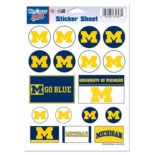 NCAA University of Michigan Vinyl Sticker Sheet, 5