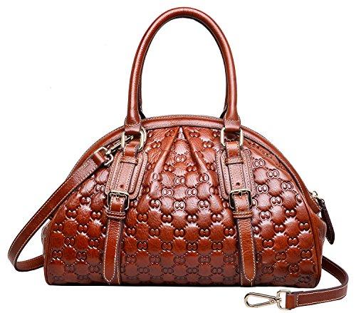 PIJUSHI Top Handle Satchel Handbags Womens Shoulder Purse Floral Handbag (N6833 brown)