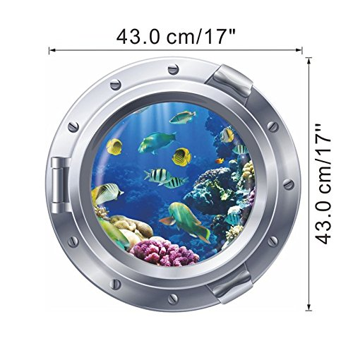 SeedWorld Wall Stickers - 3D Vivid Submarine Porthole Wall Stickers for Kids Rooms Sealife Decor Coral Shark Fish Cartoon Animal Decals Mural 1 ()