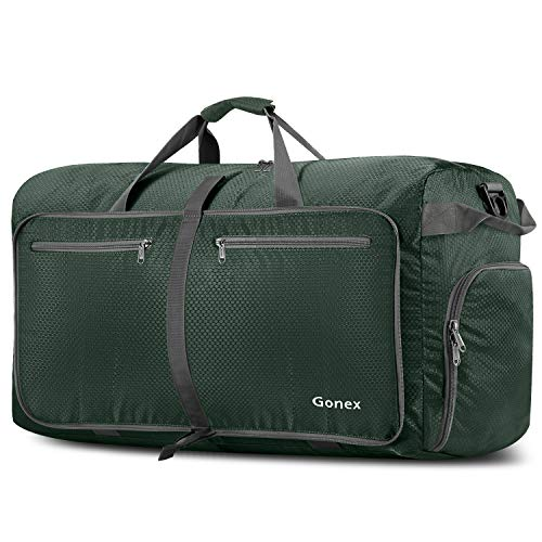 Gonex 100L Foldable Travel Duffel Bag for Luggage Gym Sports, Lightweight Travel Bag with Big Capacity, Water Repellent (Dark green) (Best Duffle Bags For International Travel)