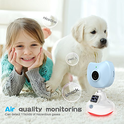 720P Baby Monitor, miSafes Mini Wireless Security Camera Nanny Cam Video  Recording Remote Motion Detect Alert with Two-Way Audio Air Quality