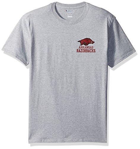 Champion NCAA Arkansas Razorbacks Men's Men's Flexbone Short sleeve T-Shirt, Medium, Gray (Razorbacks T-shirt Classic Arkansas)
