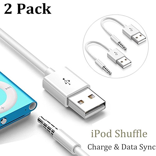 iPod Shuffle Cable, ZoneFly [2 Pack] 3.5mm Jack / Plug to USB Charger Sync Data Transfer Charging Cable for Apple iPod Shuffle 3rd 4th 5th 6th 7th Generation Charger Cable (Accessories Shuffle Apple)