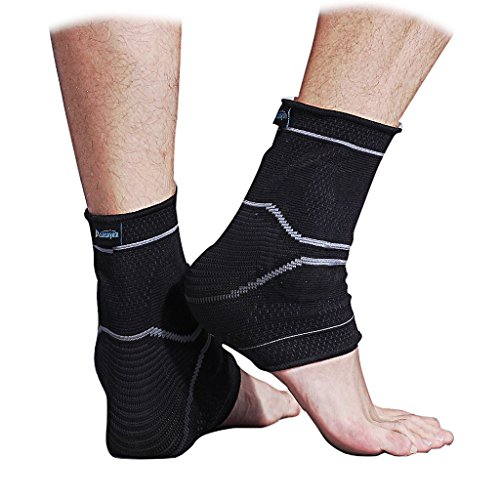 Compression Ankle Sleeve Support for Basketball Running - Ankle Brace for Injury Recovery, Joint Pain, Plantar Fasciitis Foot Socks with Arch Support, Heel Spurs, Achilles tendon by ASOONYUM