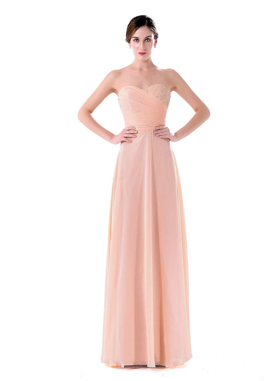 792a1d9e4274 Amazon.com: Chiffon Bridesmaid Dresses Long A line Sweetheart Sleeveless  Strapless Floor Length Prom Evening Dress with Ruffles: Clothing