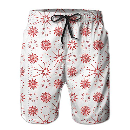 Custome Men's Beach Swimming Trunks Cartoon Snowflake Quick-Drying Sport Shorts with Pockets Beach Pants for Man Boys White -