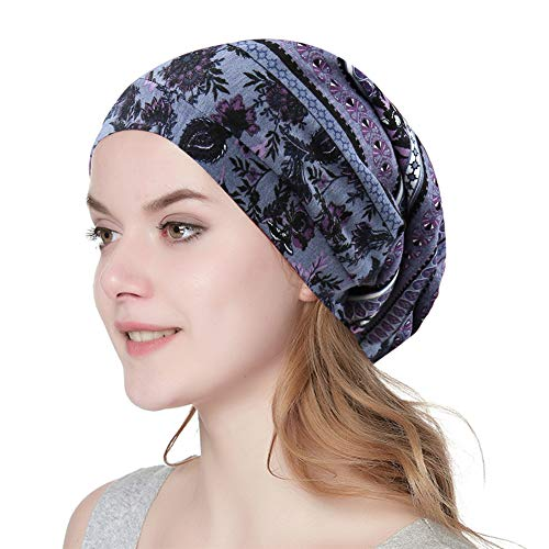 Alnorm Printed Slouch Chemo Beanie Cap Hat for Cancer Patients Unisex Purple Grey