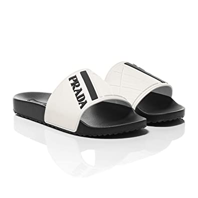 a0ad289e8 Prada Black and White Logo Print Slider Sandals (6 UK)  Amazon.co.uk ...