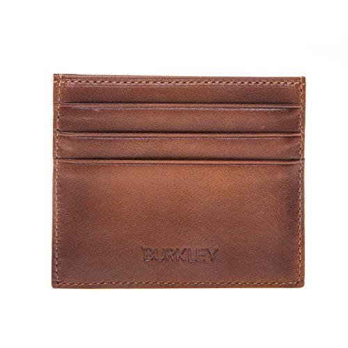 Leather Cards ID in Holder Leather Genuine and Holds Burnished Turkish Burkley Handmade Card Cash Tan Wallet Genuine 5wxRH00qYF