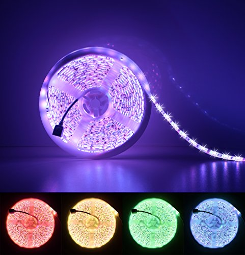 LED Strip Light, Marchpower Waterproof 16.4 ft RGB LED Lighting Strip High Density 300 LEDS Premium LED 5050 Chip Color Changing LED Strip Lights with 60W Power Adapter and 44 Key IR Remote Controller