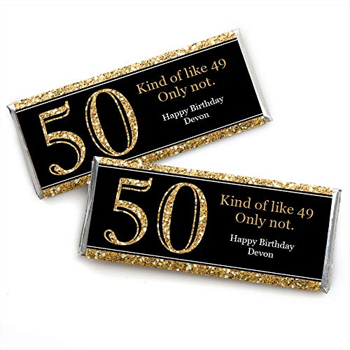 Custom Adult 50th Birthday - Gold - Personalized Birthday Party Favors Candy Bar Wrappers - Set of 24 ()