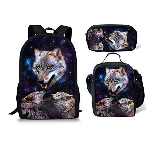1 2 Wolf Chaqlin Noir 3pcs Fox Moyen Cartable qKv6w4