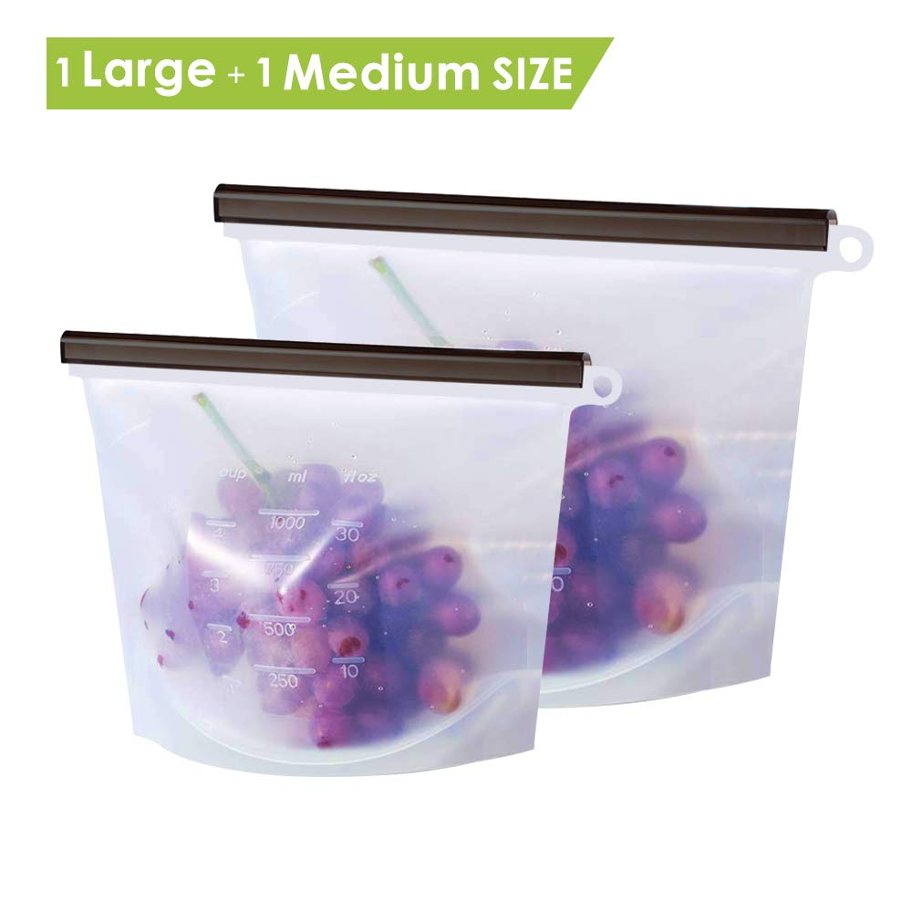 GEEKHOM Reusable Silicone Food Storage Bags Sous Vide Accessories 30+50 Oz for Cooking Lunch Sandwich Snack Vegetable Meat Milk Preservation Savers Seal Container-Freezer Microwave Dishwasher Safe