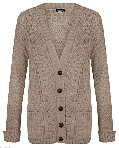 PurpleHanger Women's Knit Sweater Cardigan Top Plus Size Mocha 20-22 (Knit Cardigan Sweater Top)