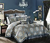 Chic Home 9 Piece Aubrey Decorator Upholstery Quality Jacquard Scroll Fabric Bedroom Comforter Set & Pillows Ensemble, King, Blue