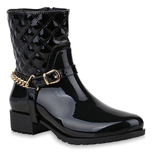 Rockige Damen Stiefeletten Gummistiefel Profilsohle Wasserdichte Boots Stiefel Gumistiefeletten Lack Damenschuhe Nieten Flandell Schwarz Black Brito