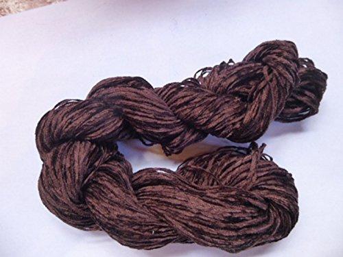 (Fingering Weight Dark Cocoa Chocolate Brown Rayon Chenille Yarn)