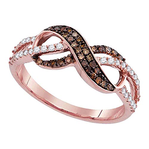 Promise Diamond Gold 14k Ring - Jewel Tie - Size 6.5 - Solid 14k Rose Gold Round Chocolate Brown Diamond Infinity Ring (1/3 Cttw.)