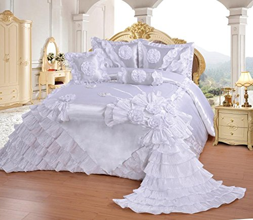 5pcs Royalty Oversize Wedding Bedding Bedspread Comforter Quilts Set (White, King(CalKing)) by OctoRose