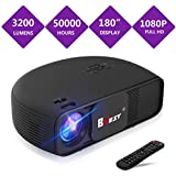 BNEST 3200 Lumen Projector (2018 Upgraded Version) LED Home Video Projectoe Video Projector, Multimedia Home Theater projector, Support Fire TV Stick, 1080P HDMI, USB SD Card, VGA, AV, TV, Laptop Game