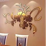 Rumas 3D Mirror Floral Art Removable Wall Sticker Acrylic Mural Decal Home Room Decor (Gold)