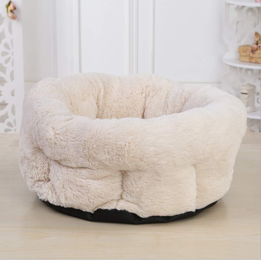 Khaki Cvthfyky Italian Cute Round Pet Nest Pet Kennel Pad Printing Seat Cushion Comfortable Kennel Mat (color   Khaki)