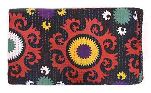 Sophia Art Indian King/Queen Size Kantha Quilt, Bohemian Bedding Kantha, Suzani Kantha Rallies, Reversible Blanket/Bedspread Quilt (Multi) (Suzani Quilt)