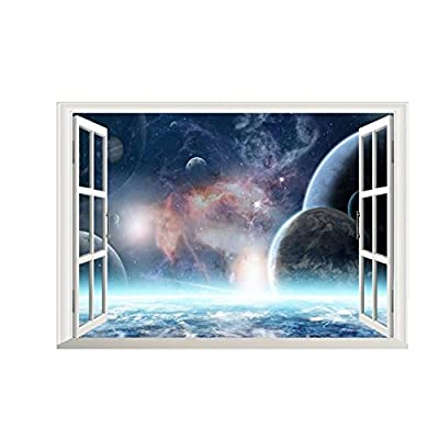 Home decoration 3D Effect Galaxy Wall Sticker Outer Space Planet Stickers Wallpaper 3d Window Scenery Wall Decals for Living Room Home Decor