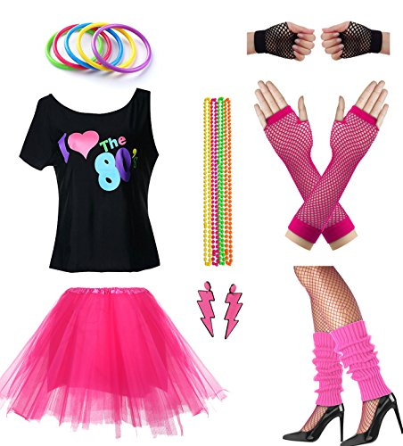Women I Love The 80's Disco 80s Costume Outfit Accessories Set (S/M, Hot Pink)