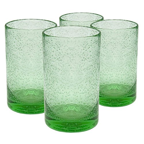 (Artland Iris Seeded Light Green Glass 17 Ounce Highball Tumbler, Set of 6 )