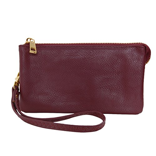 (Humble Chic Vegan Leather Wristlet Wallet Clutch Bag - Small Phone Purse Handbag, Burgundy, Dark Red, Plum)