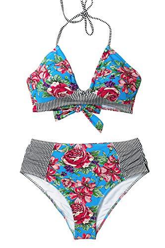 CUPSHE Women's Red Floral Print Stripe Halter Bikini Medium