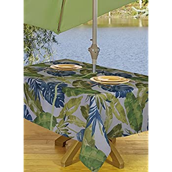 Amazon Com Outdoor Tablecloths Umbrella Hole With Zipper