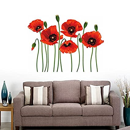 Buy decals design poppy flowers wall sticker pvc vinyl decals design poppy flowers wall sticker pvc vinyl multicolour 70 cm mightylinksfo