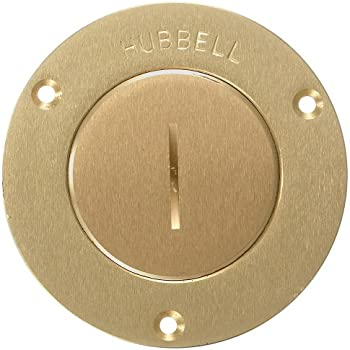 Hubbell Wiring Systems S3525 Brass Round Floor Box Single