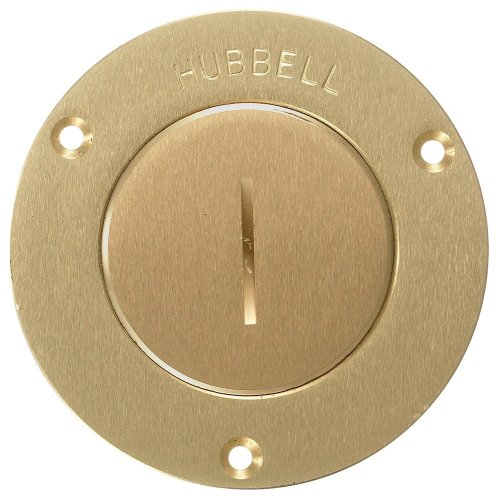 Brass Round Single (Hubbell Wiring Systems S3525 Brass Round Floor Box Single Receptacle Single Service Cover, 3-7/8