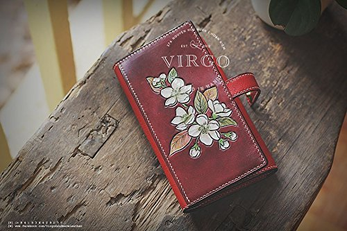 Prunus Flower hand tooled wallet for women | Personalized Vintage vegetable tanned leather handmade wallet by Virgo Handmade Leather