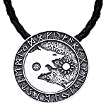 MCSAYS Norse Viking Rose Amulet Wolves Pendant Necklace Gifts Rapper Dope