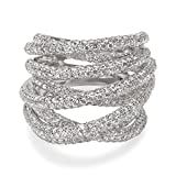 BRAND NEW Pave Diamond Crossover Ring in 18k White Gold (4.52 CTW)