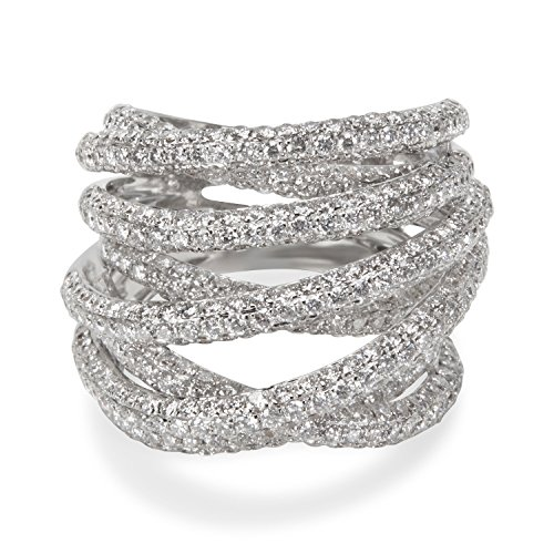 BRAND NEW Pave Diamond Crossover Ring in 18k White Gold (4.52 CTW) by Loved Luxuries