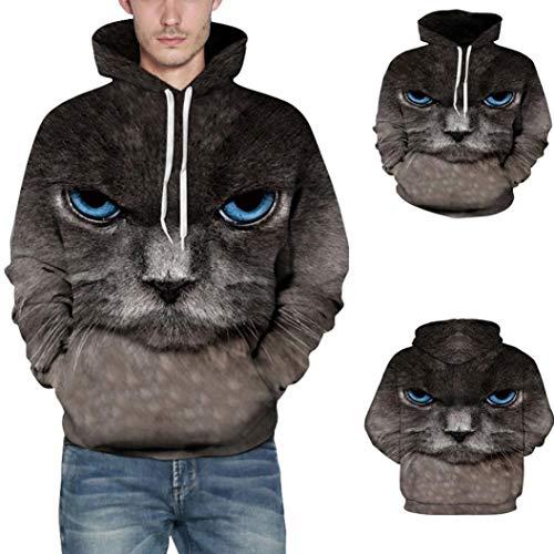Malbaba Tops, Men's Casual Autumn Winter Halloween Cat 3D Printing Long Sleeve Caps Sweatshirt Blouse(Dark -